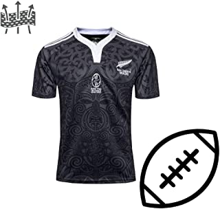 FJXJLKQS All Black Rugby Jersey Training Rugby Scottish Family Football Jersey Youth Rugby T-Shirt Sports Tops Manga Corta,Commemorativeedition-S