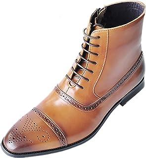 OROSUA Bottines pour Hommes Brogue Bout carré à Lacets Fermeture à glissière Respirant Chaussures décontractées Bottes en ...