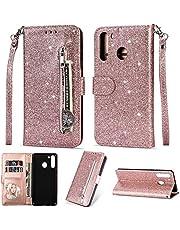 TTNAO Compatibel met Samsung Galaxy A21 Case, Magnetische Luxe Glitter PU Lederen Flip Folio Portemonnee Cover met Kaartsleuven Rits Pocket Shockproof Beschermende Bumper (RoseGold)