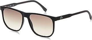 نظارة شمسية وطبية مستطيلة الشكل للرجال من لاكوست بلون اسود غير لامع
