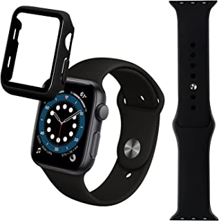 tenlamp Compatible for Apple Watch Band with Case 38mm Soft Silicone Replacement Strap and Hard PC Screen Protector Case b...