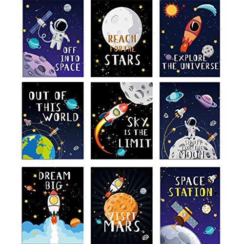 Blulu 9 Stück Weltraum Poster Dekor Kinderzimmer Schlafzimmer, 8 x 10 Zoll, Niedlich Inspirierende Wand Kunst Dekoration für Jungen und Mädchen Spielzimmer Schlafzimmer Kinderzimmer