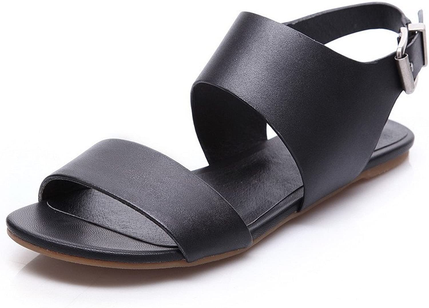 AmoonyFashion Women's Soft Material Buckle Open Toe No Heel Solid Sandals