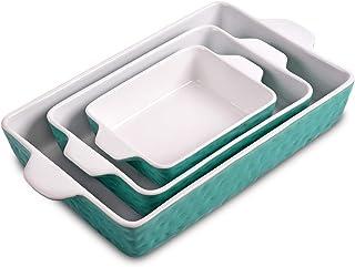 Bakeware Set, Ceramic Baking Dish, Rectangular Baking Pans Set, Casserole Dish for Cooking, Cake Dinner, Kitchen, Wrapping...