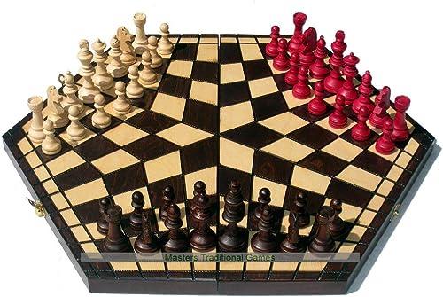 barato y de moda Sunrise Sunrise Sunrise Large 3 Player Chess Set - 54cm Board Without Edge Numbers (marrón, blanco and rojo Pieces)  venta con alto descuento