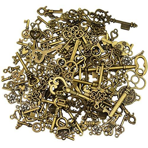 125 Stück antike Bronze Vintage Skelett Schlüssel Anhänger DIY Halskette Anhänger für handgemachten Hochzeit Party gefallen & Geburtstagsparty