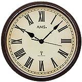 AMS f5977Orologio da Parete radiocontrollato, Legno, Multicolore, 46x 46x 12cm