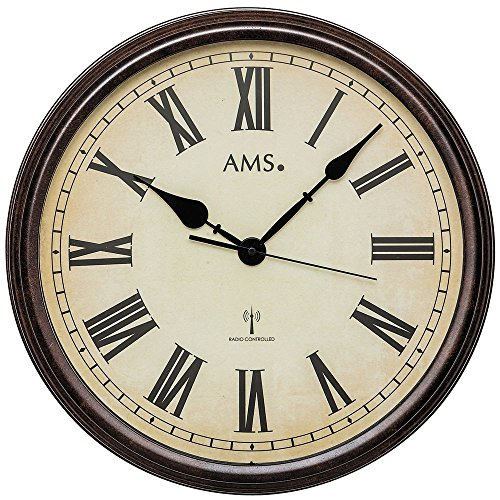 AMS F5977 Horloge Murale Radio-pilotée en Bois Style rétro avec Chiffres Romains 46 x 46 cm