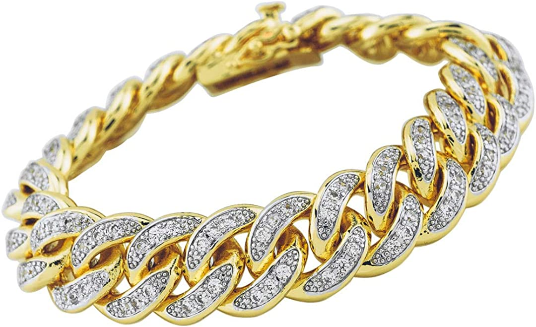 NIV'S BLING 18k Yellow White specialty shop Rose Plated Li mart Cuban Miami Gold