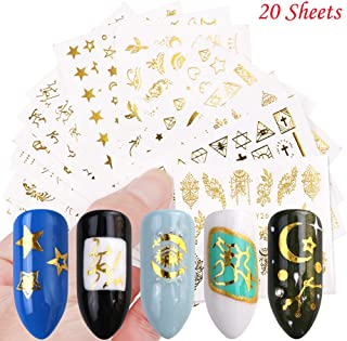 Gold Nail Stickers for Women Metal Nail Decals Water Transfer Nail Art stickers 20 Sheets Nail Art Glitter Design Boho Star Moon Animal Fingernail Tattoos Decorations Manicure Tips Charms Accessories