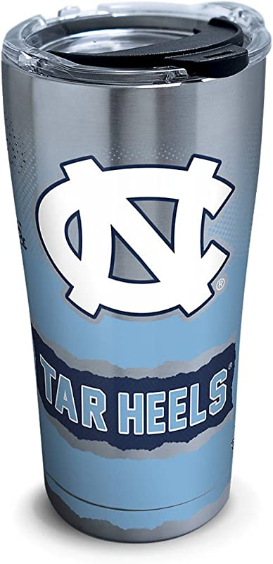 Tervis 1269204 North Carolina Tar Heels Knockout Stainless Steel Tumbler With Clear And Black Hammer Lid 20oz Silver