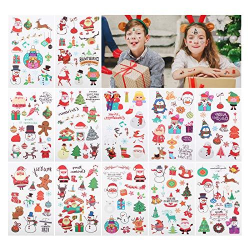 GWHOLE Navidad Pegatinas Tatuajes Temporales para Niños - Pegatinas Lindas de Colores Tattoos para Disfraces Infantiles Navidad Decoraciones Fiestas Divertidas Accesorios Dibujos Navideños Varios