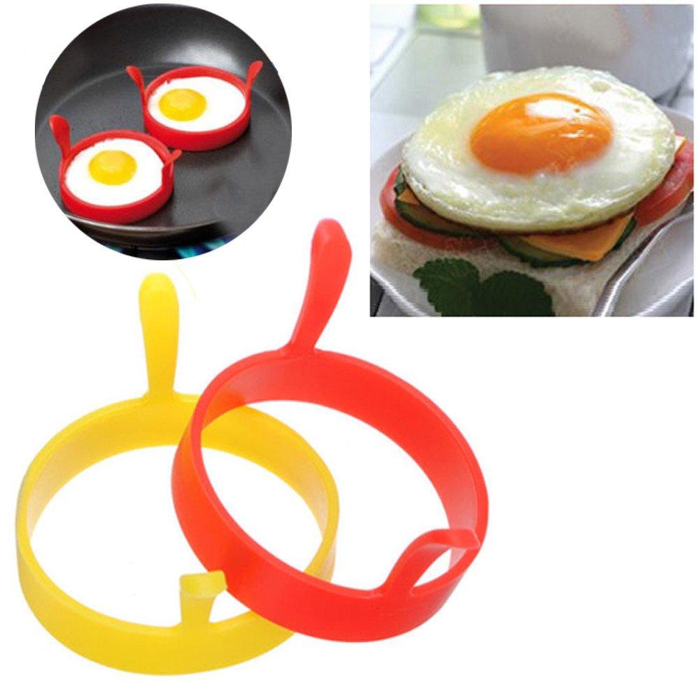 color al azar Hengbaixin Molde redondo de silicona para huevos y panqueques con mango antiadherente para cocinar huevos fritos