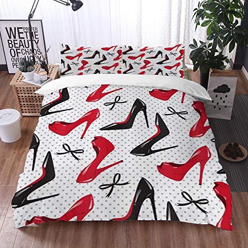 Juego de Fundas de edredón,Rojo Negro Zapatos de tacón Alto Bowknots Puntos,Fundas Edredón 200 x 200 cmcon 1 Funda de Almohada 40x75cm