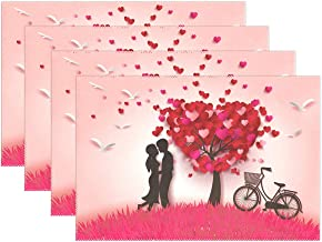 XiangHeFu Placemats Valentine's Day Love Heart Tree Couple 12x18 inch 1 Piece Non Slip Heat Resistant for Dinning Table