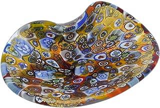 GlassOfVenice Murano Glass Decorative Plate - Golden Quilt Millefiori