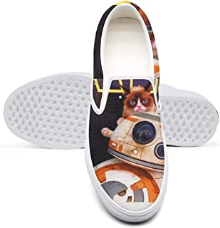 Womens Slip-on Skateboard Shoes for Women Grumpy cat Beast Sneakers Crazy Non Slip Sneakers Shoes