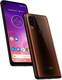 "Motorola One Vision (128GB, 4GB RAM) 6.3"" 21:9 Extra Long Display, 48MP Camera, Dual SIM GSM Factory Unlocked XT1970-1 - US + Global 4G LTE International Version (Bronze, 64GB SD + Case Bundle)"