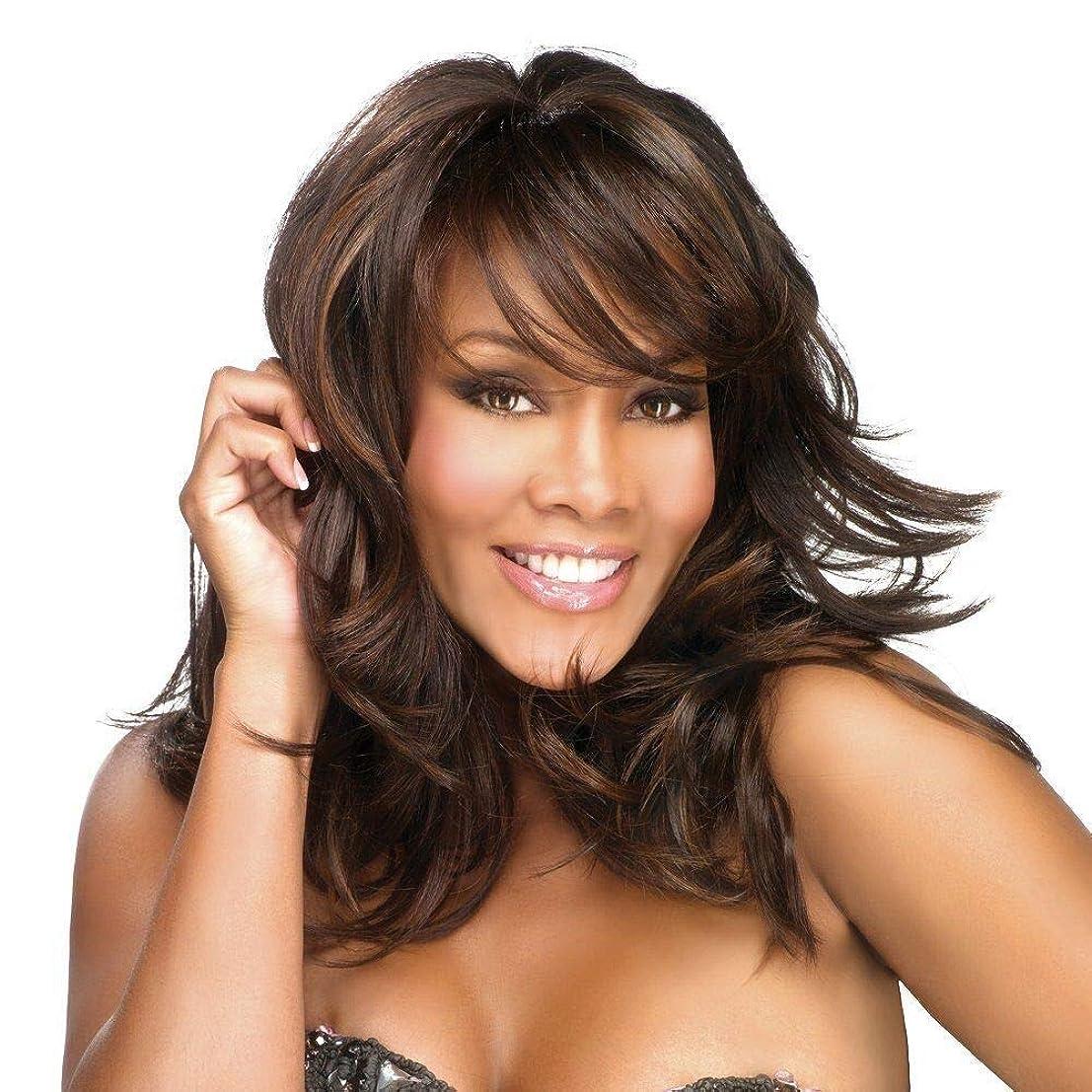 マネージャーいつピニオンYrattary 斜め前髪+フリーキャップで女性の毎日のかつらのためのダークブラウンの長い巻き毛 (色 : ブラウン)