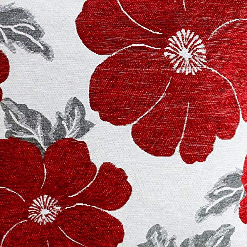 Poppy, Chenille Cushion Covers, Floral Cushions, Pillow Covers, 18' x 18', 45cm x 45cm (Red)
