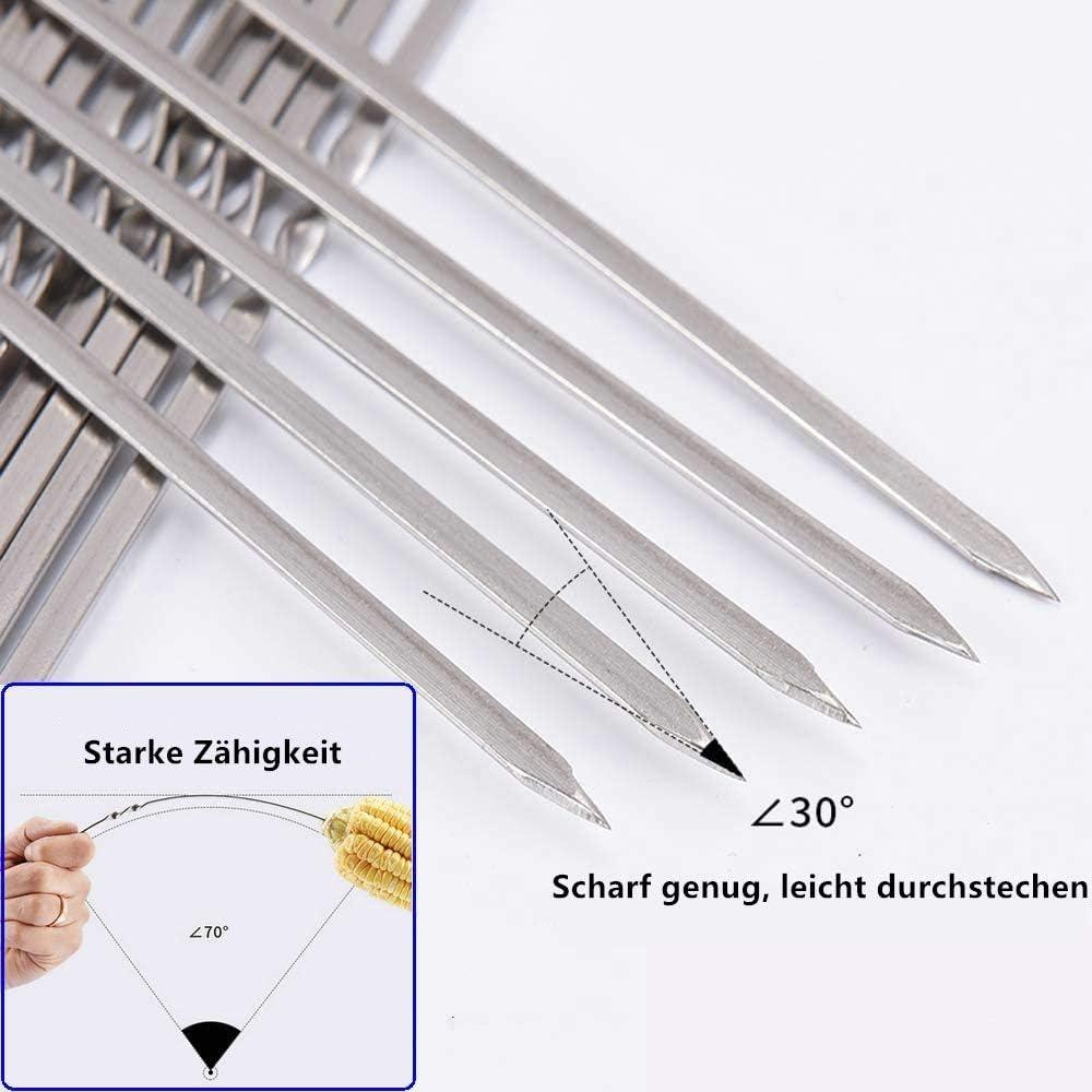 BTkviseQat 20 St/ück Grillspie/ße Edelstahl Grill Kabob Spie/ße 38cm Flat Schaschlikspie/ße Grillspie/ße Fleischspie/ße