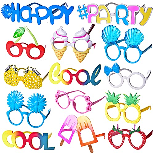 FUN LITTLE TOYS 14 PCs Luau Party Glasses, Hawaiian Funny Glasses for Summer Party Supplies, Kids Party Favors