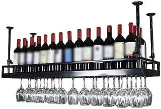 DJSMjbj Casier À Vin en Métal Mural Plafond Suspendu Porte-Verre À Vin Décoration Étagère Bar Restaurants Cuisine (Size : ...