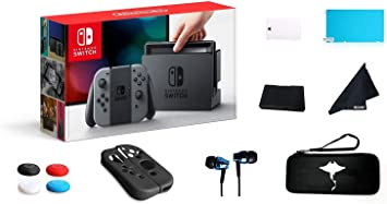 Switch 32GB Console Video Games Joy-Con w/GM 69 Value 13in1 Supper Kit Case (Earphone, LCD Film, Card Case, Silicon Case x 2pcs, Carry Bag, Wiping Cloth etc.) (Gray)