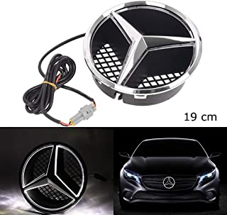 Car Led Light Front Grille Star Logo Emblem Badge For Mercedes Benz Hood Ornament Emblem Size 19 Cm/7.48 Inch Snap-in