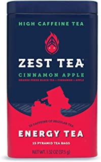 Zest Tea Premium Energy Hot Tea, High Caffeine Blend Natural & Healthy Traditional Coffee Substitute, Perfect for Keto, 150 mg Caffeine per Serving, Apple Cinnamon Black Tea, Tin of 15 Sachet Bags