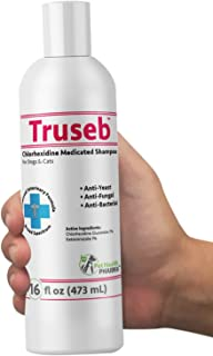 Truseb | #1 Ketoconazole & Chlorhexidine Shampoo for Dogs & Cats - Antifungal, Antibacterial & Antiseptic Medicated Shampoo for Hot Spots, Ringworm, Yeast, Fungal Infections, Acne,Pyoderma