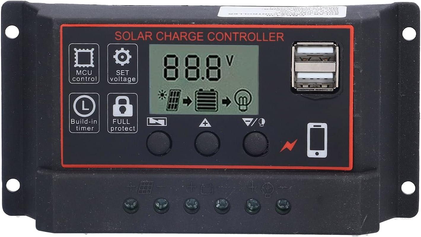 Regulador De Carga Solar, Regulador De Energía Inteligente Fotovoltaico Ajustable 12V 24V 10A(rojo)
