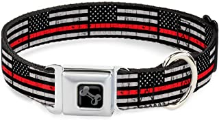 Dog Collar Seatbelt Buckle Thin Red Line Flag Weathered Black Gray Red 15 to 26 Inches 1.0 Inch Wide