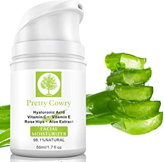 Aloe Vera Hyaluronic Acid Facial Cream,ROMANTIC BEAR 100% Pure Aloe Vera Effective Whitening Moisturizing Acid Anti-wrinkle Serum for All Skin Types (A)