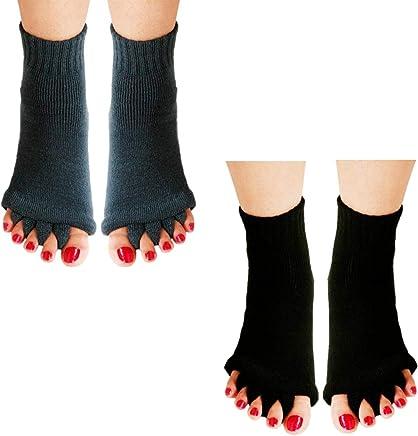 Toe Separator Yoga Gym Sports Massage Socks, Women Foot Alignment Socks, Half Toe Socks Great for Sore Feet Diabetics Yoga Gym Massage Toeless Relieve Pain 2 Pair