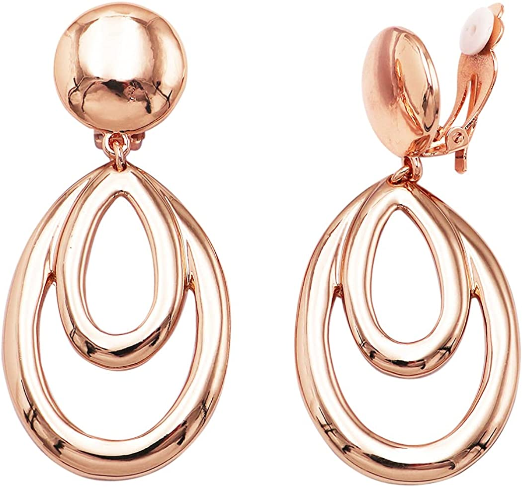 Rosemarie Collections Women's Double Oval Hoop Style Dangle Clip On Earrings, 3