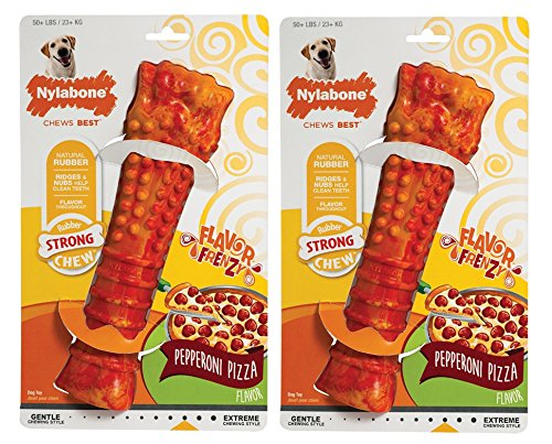 Nylabone (2 Pack) Frenzy Giant Pepperoni Pizza Flavor Dog Chew Toy, for Dogs Up to 50 Pounds