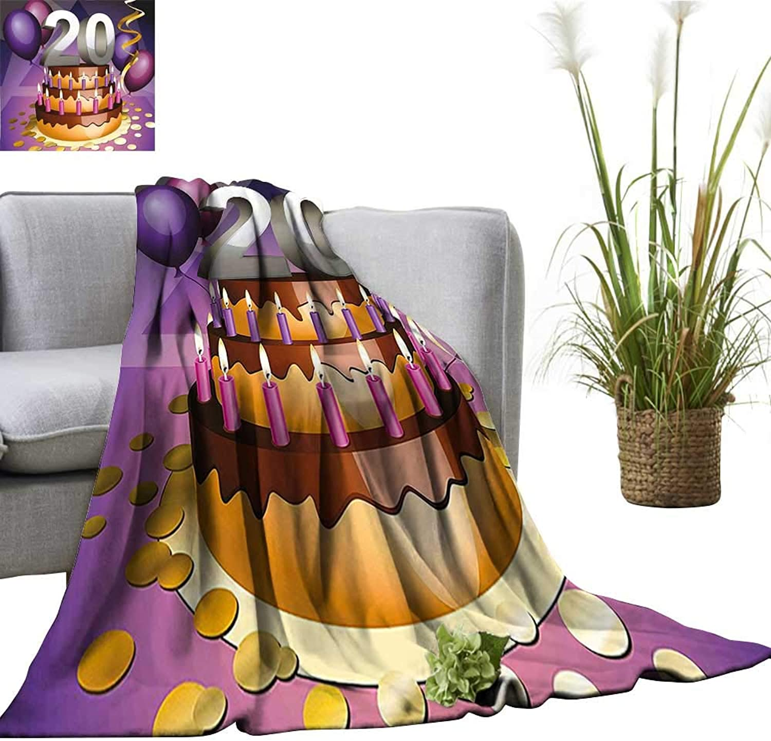 YOYI Baby Blanket Cartoon Print Birthday Cake golden Frosting and Candles Purple and purplec Indoor Outdoor, Comfortable for All Seasons 50 x70