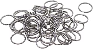 Prettyia 100 Pieces 15mm Silver Stainless Steel Keyring Keychain Split Ring Key Rings Connector Jewelry Findings for DIY C...