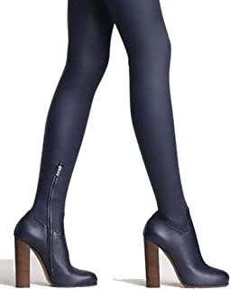 Genuine Leather Thigh high Boots Women Fall Twist Stretch Boot Chunky Heel Fashion Over The Knee Boots Female