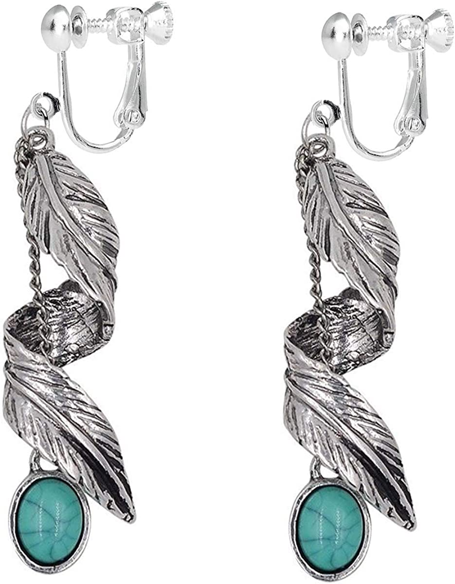 Women Bohemian Tribal Vintage Dangle Clip on Earrings With Turquoise Bead Inlay Nickel Free