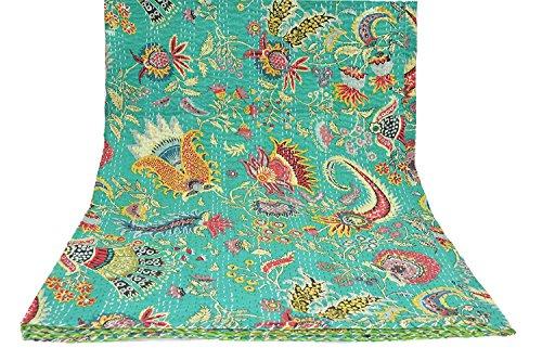 Sophia-Art Couvre-lit pour lit King Size Motif Mukut Multicolore, Coton, Vert 1, 60\