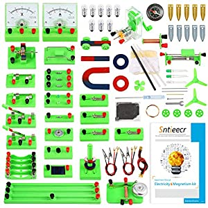 ELECTRIC CIRCUIT LEARNING KIT: Comes with 77 items for Electricity, 21 items for Magnetism, also provide a instructions for students easy to learn and use, all the accessories are packaged in a storage bag, it is good for you to find the items or bri...