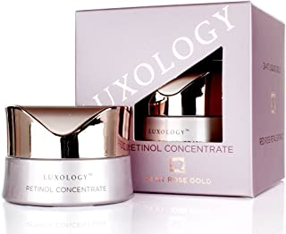 Luxology Retinol Night Crème Concentrate with 24KT Rose Gold, Caviar, Hyaluronic Acid, Jojoba Oil. Anti-aging night cream helps with wrinkles, dry skin and skin firmness. 1oz (30ml)