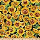 Fabric & Fabric QT Fabrics Digital Always Face Sunshine Packed Sunflowers, Black