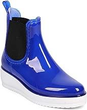 Women Jelly Almond Toe Pull On Chelsea Wedge Bootie DG29 - Blue