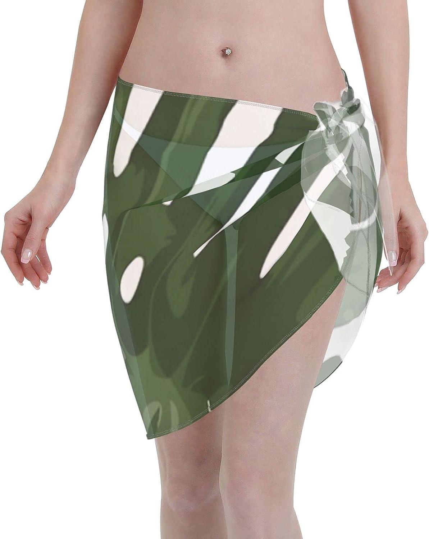 2053 pants Monstera Women Chiffon Beach Cover ups Beach Swimsuit Wrap Skirt wrap Bathing Suits for Women