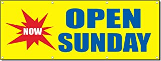 Now Open Sunday Business Sign Banner 4 Feet X 8 Feet/W 8 Grommets