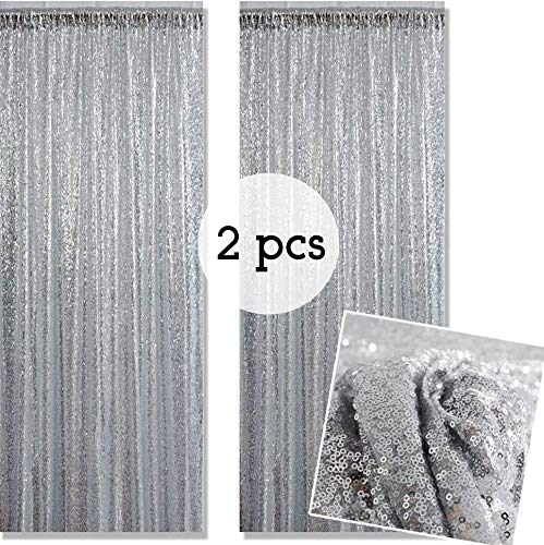 Kate Photo Backdrop Silver Lentejuelas (Dos) Decoración de la Boda 1,25x2,2m / 4X7ft Glitter Photo Booth Background Festival Party Cortina de Brillo