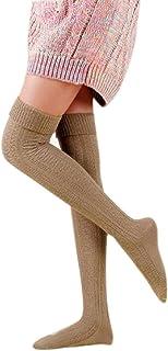 Malloom® Mujeres Chica de Favorito: Calentador de la Pierna Suave Tejer croché Legging Calcetines Medias (Caqui (Khaki))
